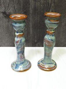 "Pair Chilmark Pottery Candlesticks Geoffrey Borr Martha's Vineyard  Blue 7.25"""