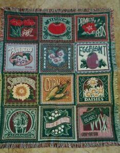 Goodwin Weavers Vintage Fringed Throw Blanket Vegetable Garden 47x58 USA