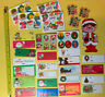 Vintage 1960s Unused Christmas Gift Tags & Lick Stick Decals Embossed 60s Lot