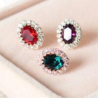 New 18K Rose Gold Filled Multi Color Crystal Stud Earrings Elegant Women Jewelry