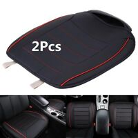 2xBlack PU Leather Breathable Car Chair Cover Full Surround Seat Pad Cushion Mat