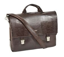 Mens Real BROWN Leather Briefcase Executive Shoulder Satchel Laptop Office Bag