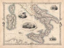 ITALIA meridionale. NAPOLI il Vesuvio SICILIA SARDEGNA CORSICA. Tallis/RAPKIN c1851 Mappa