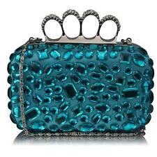 CLUTCH hand BAG diamante 172 WEDDING chain turquoise jeweled knuckle rings