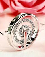 Emozioni Hot Diamonds Silver Entro Circles Spiral Stone 25mm Coin pendant.
