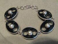 """Vintage Sterling Silver Puffy Black Lucite Bracelet 7.5"""""""