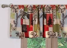 RUSTIC LODGE VALANCE : CABIN BEAR MOOSE LODGE MOUNTAIN RED WINDOW TREATMENT