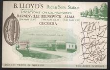 Postcard BARNESVILLE GA  B. Lloyd Woodall Pecan Nursery & Gas Station 1920's?