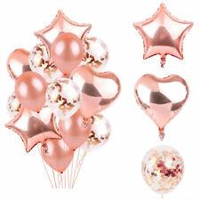 14 x Oro Rosa Metalizado Globos de Látex Juego Helio Estrella Fiesta Cumpleaños