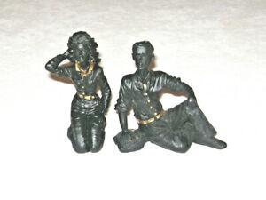 Vintage 1970's Man & Woman Couple Coal Sculpture Figurines