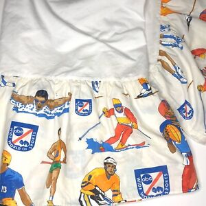 """Vintage Wide World Of Sports Full Bed Skirt Dust Ruffle 14"""" Drop ABC 1970s Retro"""