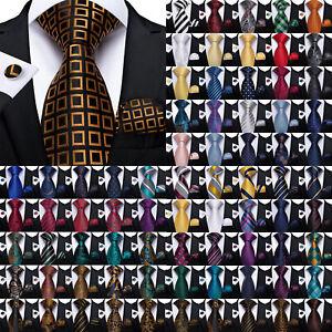 DiBanGu Mens Silk Necktie Blue Black Green Pink White Red Tie Hanky Cufflinks