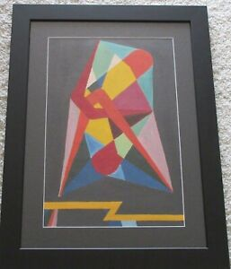 MID CENTURY JAPANESE MODERNIST PAINTING ABSTRACT GEOMETRIC CUBISM MYSTERY ARTIST