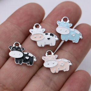 10PCS Enamel Cows Charm Pendant for Jewelry Making Bracelet Earrings Craft DIY