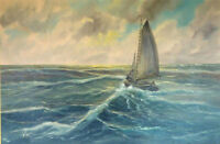 CHOP757 hand painted small sailing boat &big sea wave oil painting art on canvas