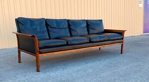 Danish Mid Century Modern  Vatne Mobler  Rosewood & Leather Sofa / Couch