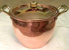 RUFFONI Historia Decor HAMMERED COPPER Stock Pot PUMPKIN HANDLE LID 4 1/4 QT NEW