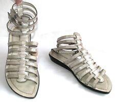 BOCAGE Sandalias de gladiador cuero cuero gris plateado 38 EXCELENTE ESTADO
