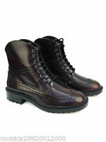 ZARA BURGUNDY LACE UP BROGUE ANKLE BOOTS SHOES SIZE UK7/EUR40/US9