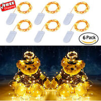 6 Pack Starry String Lights 7.2Ft Waterproof Fairy 20 Micro LED Moon Copper Wire