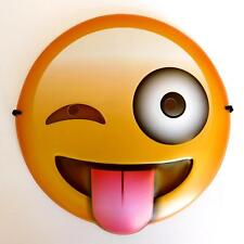 TONGUE OUT WINKING CHEEKY EMOJI FACE MASK - KIDS & ADULTS SMILEY FANCY DRESS