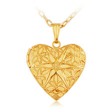 Gold Heart Locket Pendant Necklace 18k Gold Plate GP Gift Photo Insertable