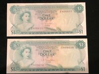 2 Consecutive Uncirculated 1974 Central Bank Bahamas Pick #35a Queen Elizabeth