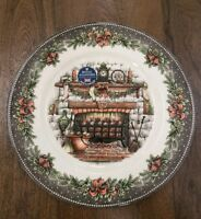 NEW (4) Royal Stafford Christmas Country Home Fireplace Scene Dinner Plates