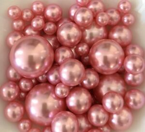 Dusty Pink Pearls Vase Filler, DIY Floating Pearl Centerpiece 80pc no hole pearl
