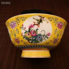 Old Chinese Qing wire inlay Cloisonne Porcelain Dynasty Flower Bird Bowls yellow