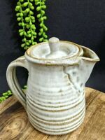Vintage Hand Thrown Taupe & Sand Coffee Pot Pottery Handmade Rustic Farmhouse