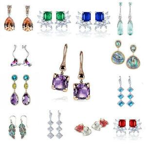Chic 925 Silver White Topaz Ear Stud Hook Dangle Earrings Elegant Women Jewelry