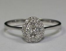 14K White Gold Round White Diamond Oval Style Illusion Setting Ring Size 6