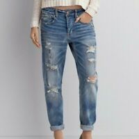 American Eagle Tomgirl Blue Distressed Jeans Mid Rise Light Wash Womens Sz 0