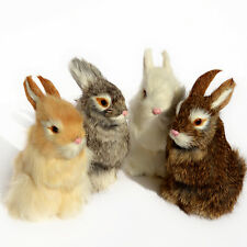 Realistic Artificial Rabbit Lifelike Easter Bunny Furry Animal Spring Figurine