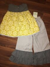 Persnickety October Sky Avery Top & Double Ruffle Pants Gray Yellow EUC Size 7 8