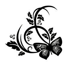 1Pc BUTTERFLY FLOWER Sticker Vinyl Decal Car Laptop Window Wall Bumper Decor