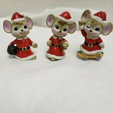 Vintage Enesco Santa Mice Ceramic Trio Christmas Figurine'S
