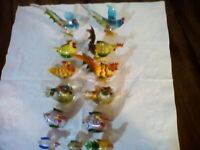 LENOX  Art Glass Country Rooster & Hen Figurines lot of 13 pieces