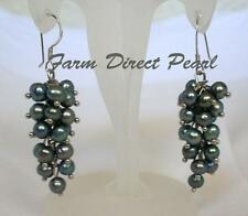 Freshwater Grey Pearl Cluster Grape Dangle Drop Earrings Sterling Silver Hook