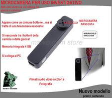 BOTTONE GIACCA CAMICIA CON TELECAMERA NASCOSTA MICROCAMERA SPY CIMICE OCCULTATA