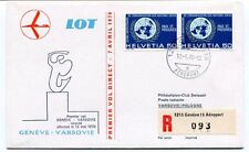FFC 1970 LOT First Flight Geneve Varsovie REGISTERED Helvetia Pologne