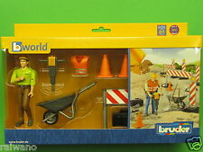Bruder bworld 62000 Baustellenset Figur und Zubehör Blitzversand per DHL-Paket