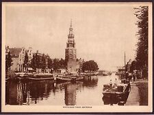 1910s Antique Vintage Amsterdam Montalbans Tower Photo Gravure Engraving Print