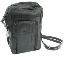Black Leather Mens Messenger Bag Travel Passport Phone Organizer Hand Strap