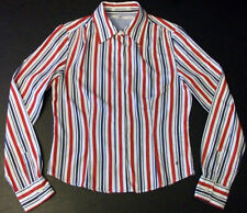 190s Sz 6 Red Blue White Stripes TOMMY HILFIGER Button-Front L/S Casual Top!