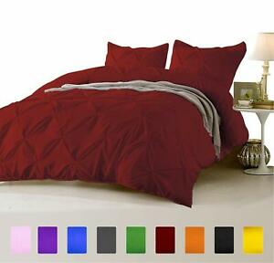 3 PC Pinch Pleated Duvet Set 1000 TC Egyptian Cotton All Sizes & Solid Colors