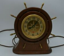 Vintage Seth Thomas Nautical Ship's Wheel Helm Clock Model# E006-004 Works