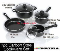 7PC CARBON NONSTICK GLASS LID Cookware Set Steel SAUCEPAN Pots and Pans set