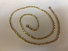 "10KT Solid Gold Diamond Cut Rope Chain Necklace 24"" 3 mm 12 grams (023rr)"